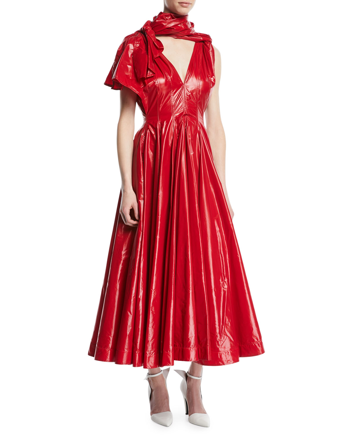 4bf9361299d0 CALVIN KLEIN 205W39NYC V-Neck One-Shoulder Fit-and-Flare Nylon Dress ...