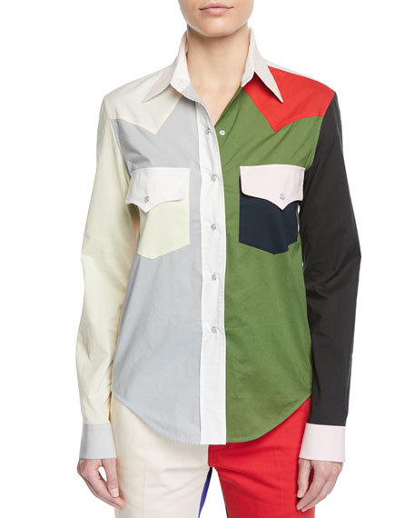 Colorblock Button-Down Long-Sleeve Cotton Western Shirt