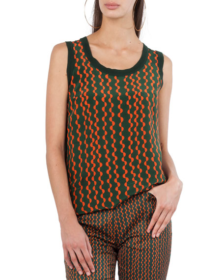 Scoop-Neck Semicircle Stripe-Print Wool Back Silk Front Top