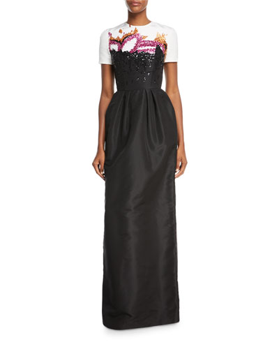 Crystal-Embellished Short Sleeve Faille Gown