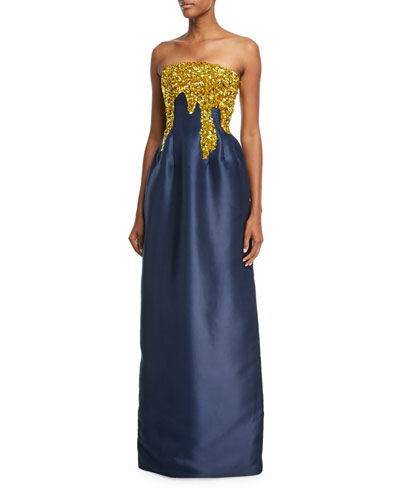 Strapless Paillette-Embellished Faille Gown
