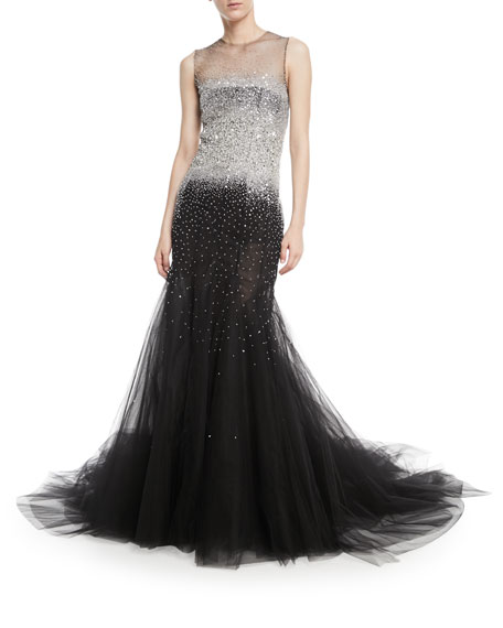 Sleeveless Embellished Tulle Evening Gown