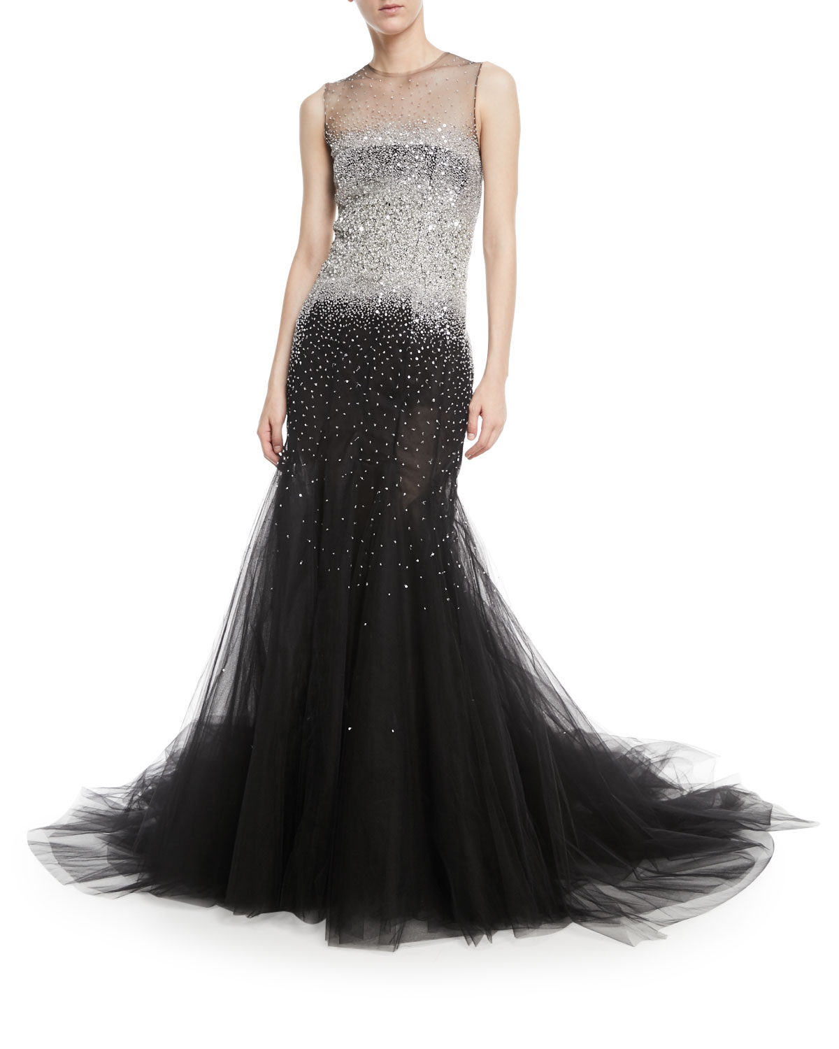 Oscar De La Renta Sleeveless Embellished Tulle Evening Gown Neiman