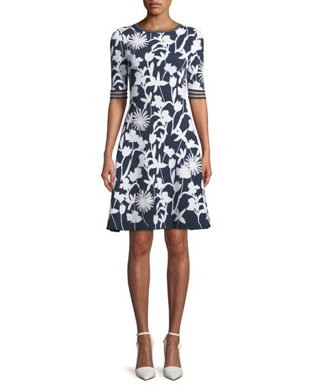 Oscar de la Renta Short-Sleeve 3D Floral Dress