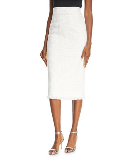 Fringe Tweed Pencil Skirt