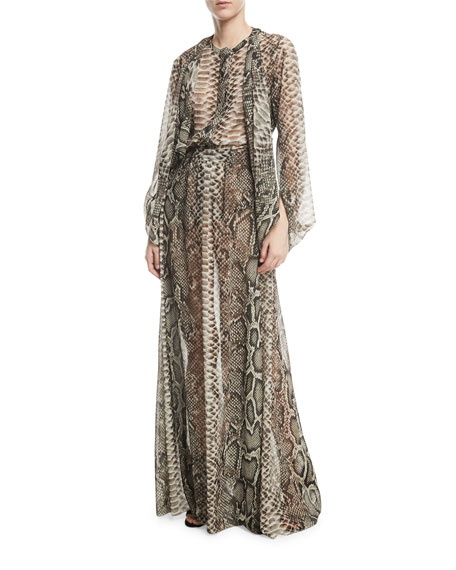 Long Snake-Print Crepe Georgette A-Line Skirt