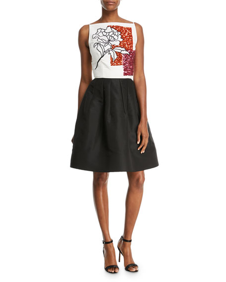 Floral Paillette Embroidery Fit-and-Flare Cocktail Dress