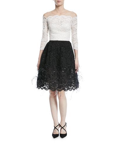 Off-Shoulder Illusion Lace Cocktail Dress