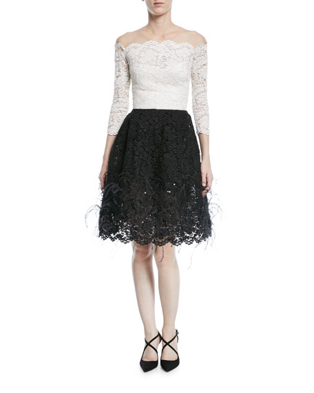 Oscar de la Renta Off-Shoulder Illusion Lace Cocktail