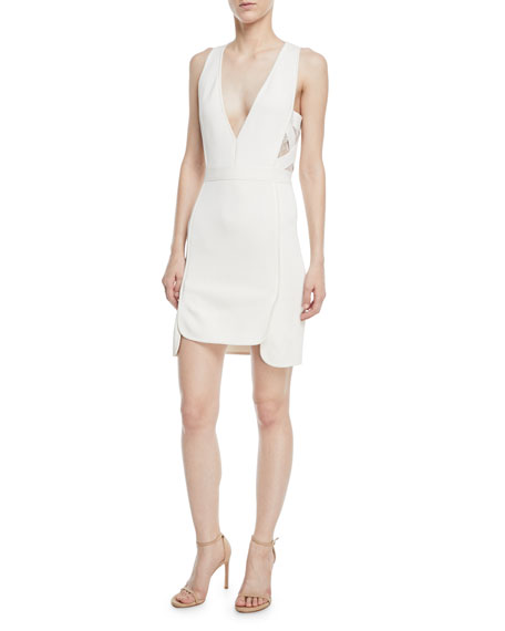 Sleeveless Deep-V Crepe Sheath Dress w/ Lace Sides