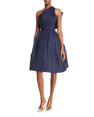 Back Bow-Tie One-Shoulder Silk Taffeta Cocktail Dress
