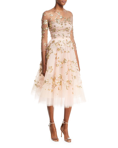 Paillette-Embellished Illusion Cocktail Dress