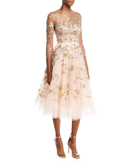 Paillette-Embellished Illusion Cocktail Dress