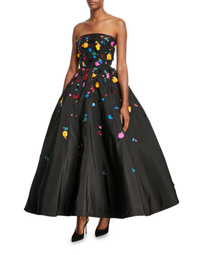Strapless Splatter-Embroidered Faille Gown