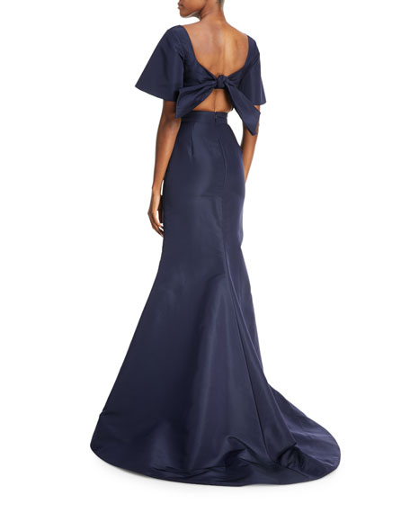 Back Bow V-Neck Silk Taffeta Trumpet Evening Gown