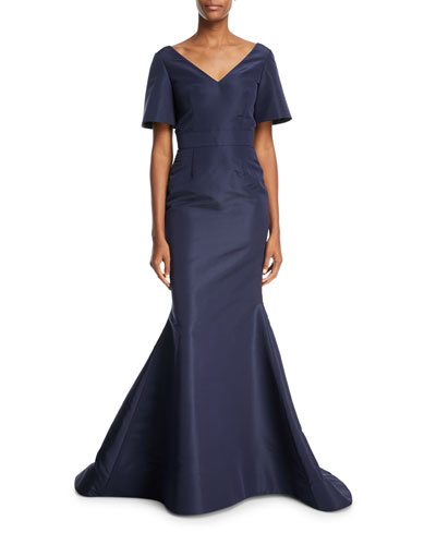 Back-Bow V-Neck Silk Taffeta Trumpet Evening Gown