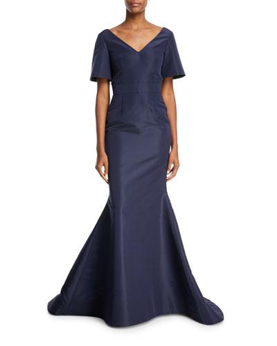 Back Bow V-Neck Silk Taffeta Trumpet Evening Gown
