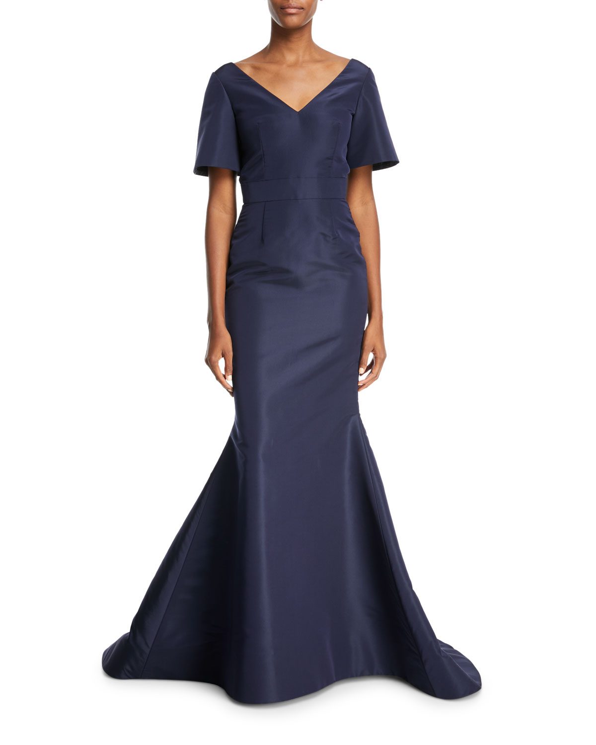 Oscar de la Renta Back Bow V-Neck Silk Taffeta Trumpet Evening Gown ...