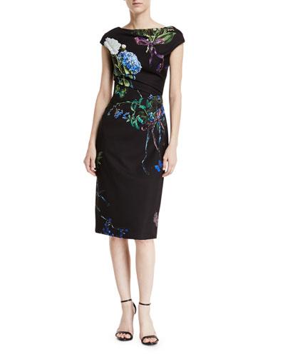 Botanical-Print Crepe Cap-Sleeve Draped Sheath Dress