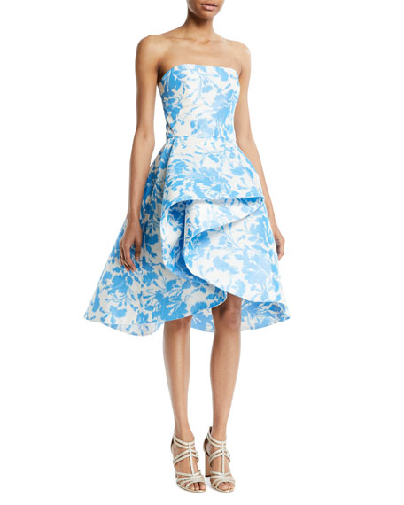 Strapless Draped Floral-Print Taffeta Cocktail Dress