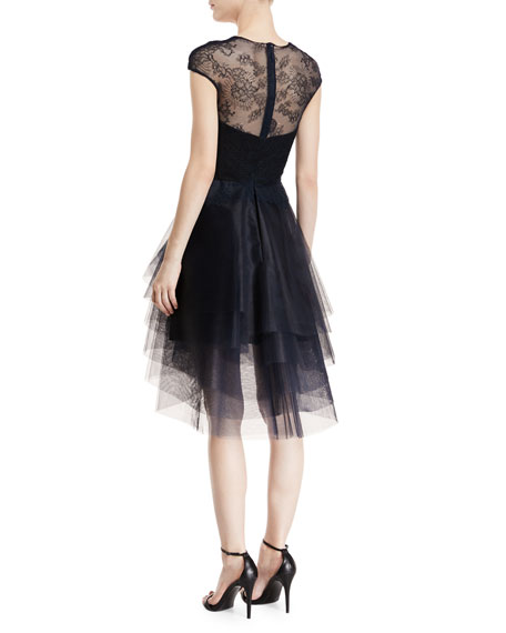 Plunging Cap-Sleeve Chantilly-Lace Dress with Tiered Skirt