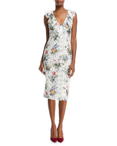 V-Neck Sleeveless Botanical-Print Lace Guipure Sheath Cocktail Dress