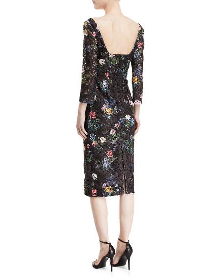 Square-Neck Long-Sleeve Botanical-Print Lace Sheath Dress