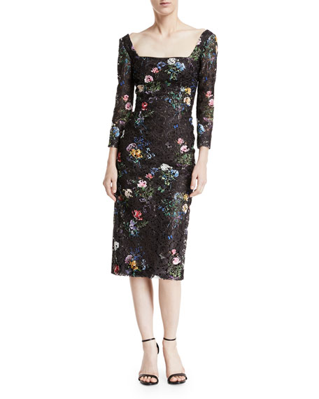 Monique Lhuillier Square-Neck Long-Sleeve Botanical-Print Lace