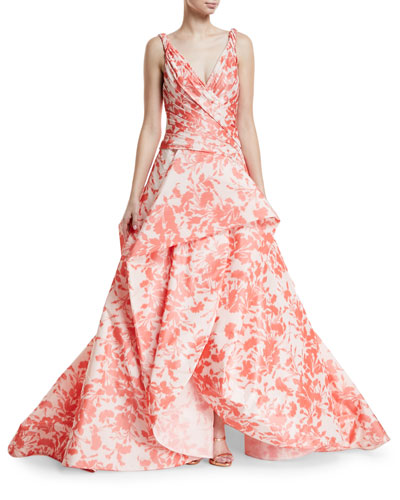 Floral Ikat Taffeta Draped Bodice Evening Ball Gown
