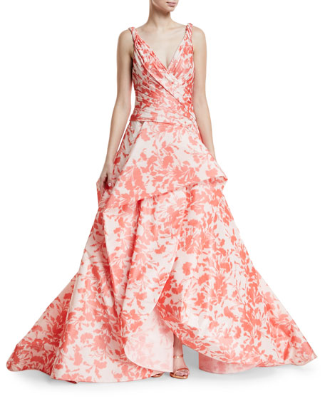Monique Lhuillier Floral Ikat Taffeta Draped Bodice Evening