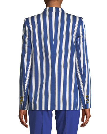 Cabana-Stripe One-Button Sateen Blazer