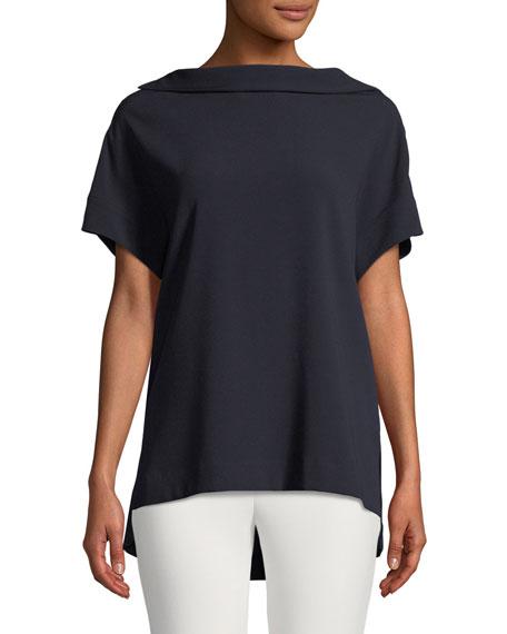 Short-Sleeve High-Neck Crepe Blouse