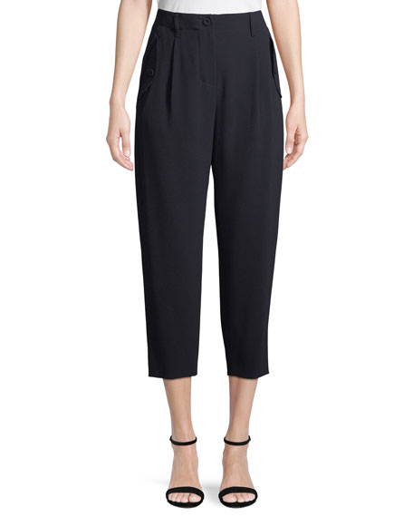 High-Waist Crepe Crop Pants