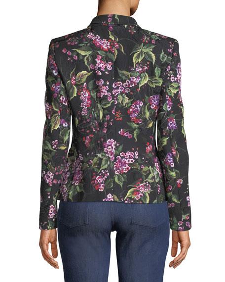 One-Button Floral-Print Jacquard Blazer