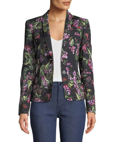 One-Button Floral-Print Jacquard Blazer