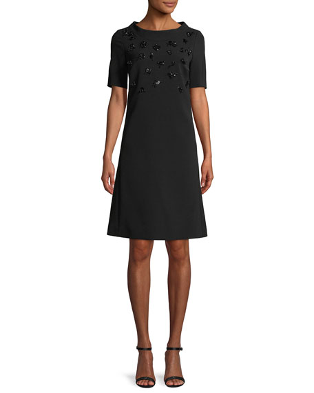 Escada Round-Neck Short-Sleeve Embellished A-Line Crepe Dress