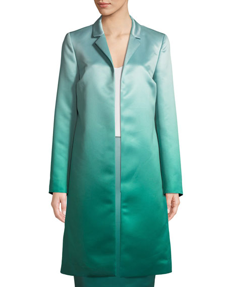 Eve Open-Front Ombre Duchess Satin Topper Coat