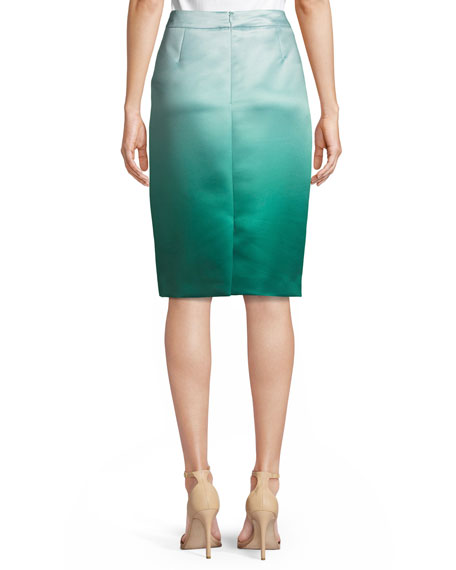 Ombre Duchess Satin Pencil Skirt