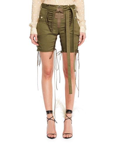 Mid-Thigh Drawstring-Sides Cotton-Linen Shorts w/ Lacing
