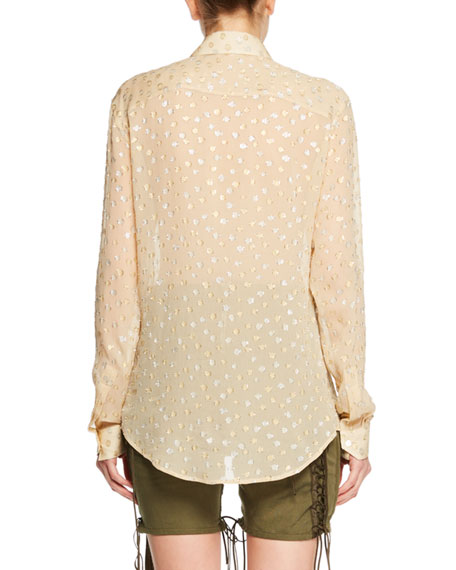 Long-Sleeve Button-Front Metallic-Dot Silk Shirt