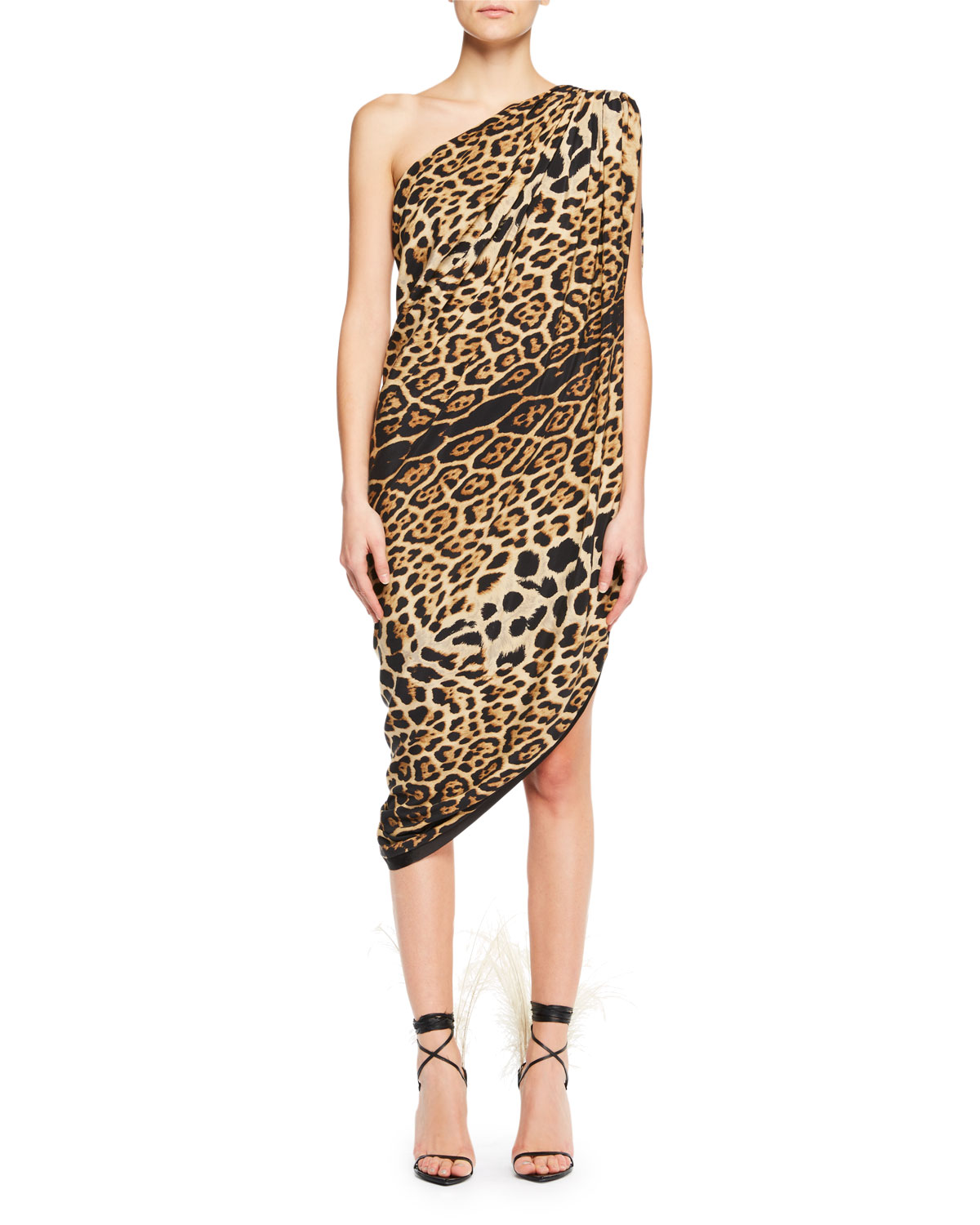 Saint Laurent One-Shoulder Asymmetric-Hem Leopard-Print Silk Dress ... 69d27e18c