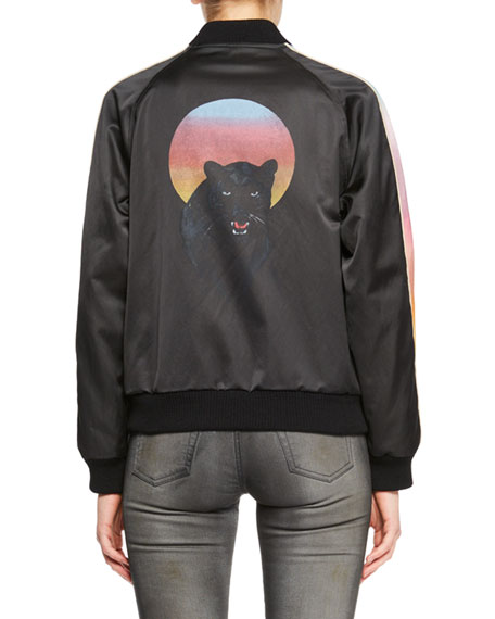 Snap-Front Bomber Jacket with Panther Graphic
