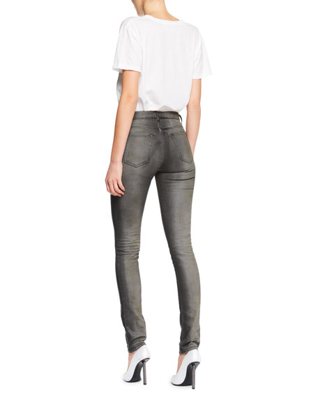 Mid-Rise Skinny-Leg Faded Denim Jeans