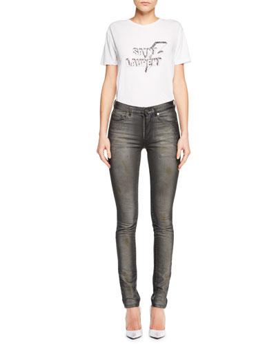 Mid-Rise Skinny Faded Denim Jeans