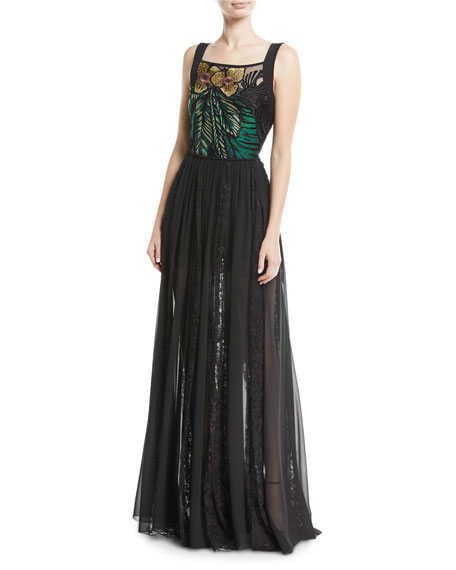 Elie Saab Sleeveless Floral-Embroidered Bodice Chiffon Lace Skirt