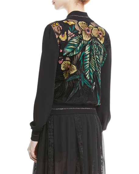 Floral-Embroidered Zip-Front Bomber Jacket
