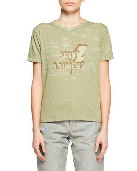 Saint Laurent Crewneck Short-Sleeve Distressed T-Shirt w/ Bolt