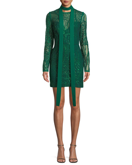 Elie Saab Long-Sleeve Sheath Sequin Dress