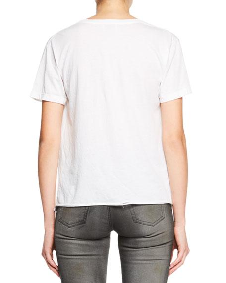 Saint Laurent Crewneck Short-Sleeve Cotton Tee w/ Lightning Bolt Logo Graphic