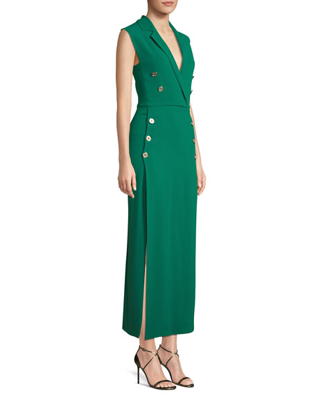 Sleeveless Wrapped Long Crepe Dress w/ Buttons